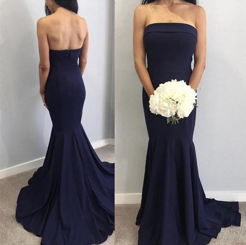Image of affordable-bridesmaid-dresses-mermaid-strapless-evening-gowns
