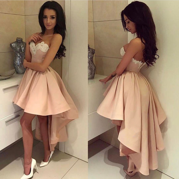 Gorgeous Lace Embroidery Sweetheart A Line High Low Prom Dresses