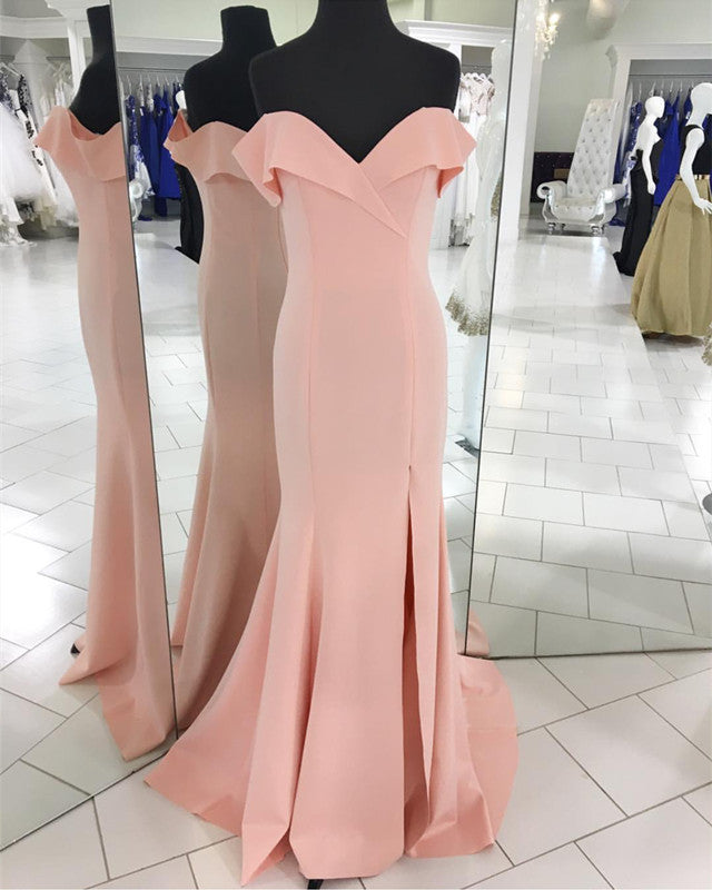 0a25c21b03a Double tap to zoom · Pretty Blush Pink Mermaid V-neck Off Shoulder ...