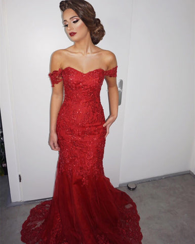 Image of Elegant Lace Off The Shoulder Sweetheart Mermaid Evening Dresses
