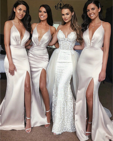 Image of Sexy-Long-Satin-Bridesmaid-Dress-Mermaid-Evening-Dresses