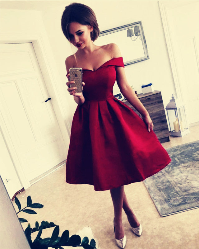 Shoulder Bridesmaid Dresses Knee Length