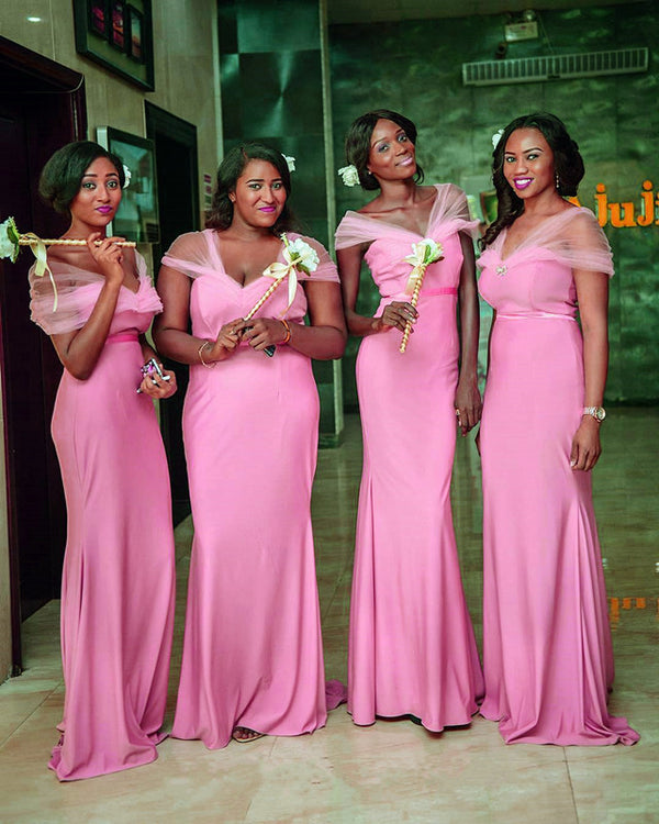 Long Jersey Empire Waistline Mermaid Bridesmaid Dresses With Cap Sleeves