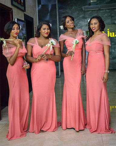 Image of Coral-Bridesmaid-Dresses