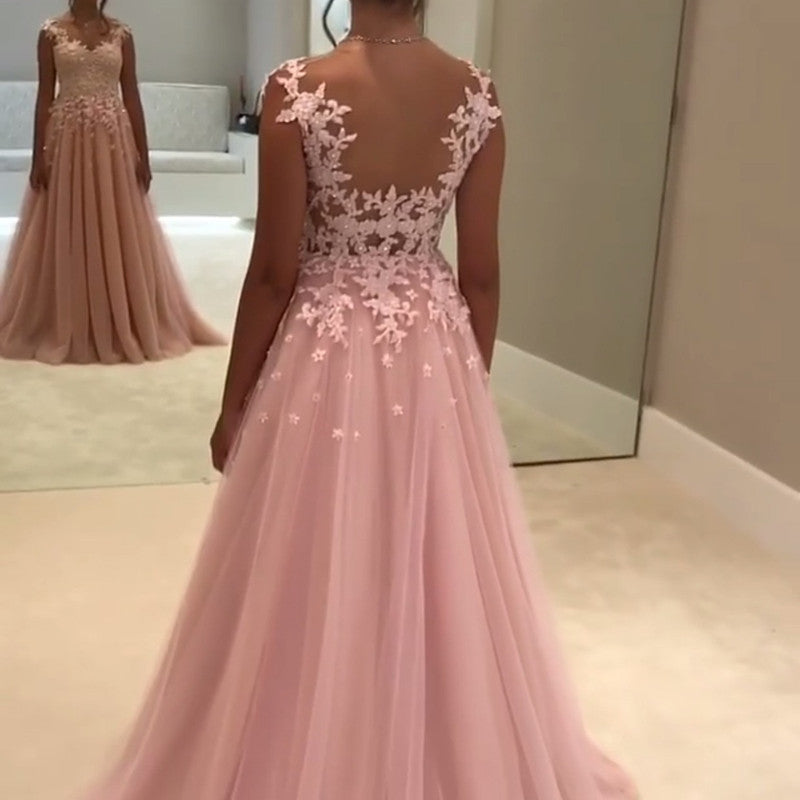 4be0521037e ... Chiffon Prom Dresses Lace Appliques Evening Gowns. Double tap to zoom