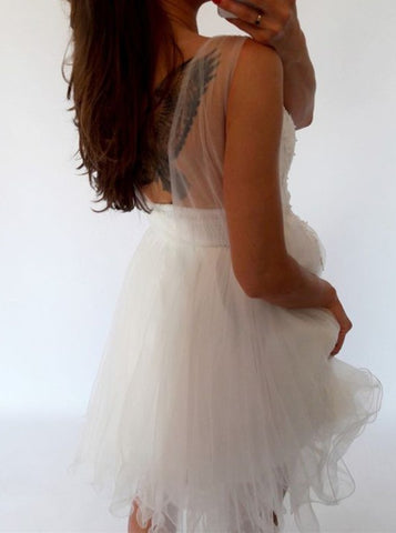 Image of Elegant White Tulle Homecoming Dresses Lace Appliques