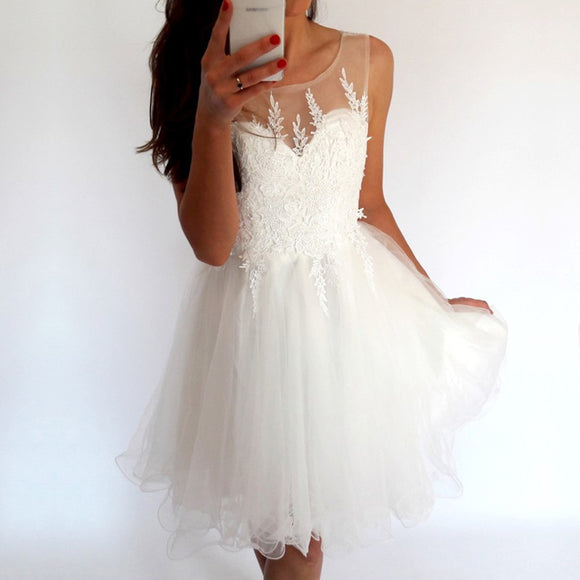 Elegant White Tulle Homecoming Dresses Lace Appliques