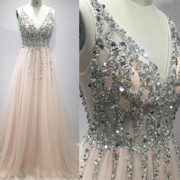 Pretty Sequins Long Tulle V-neck Prom Evening Gowns