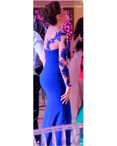 Image of Gorgeous Lace Embroidery One Shoulder Leg Split Prom Dresses Mermaid
