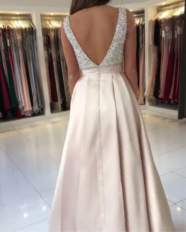 fb4a9ed1ff Double tap to zoom · Luxury Sequins Beaded V-neck Long Satin Prom Dresses  Open Back Evening Gowns