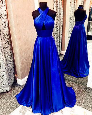 Image of Long Satin Open Back Prom Dresses Halter Top