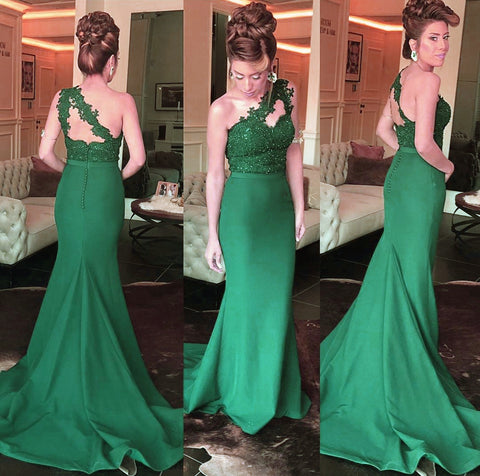 Image of Lace Appliques One Shoulder Mermaid Bridesmaid Dresses