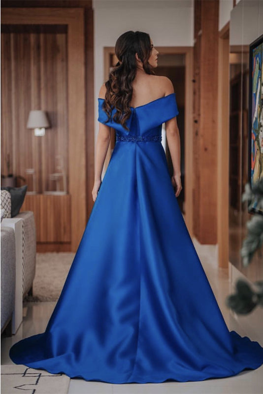 Long Satin Off Shoulder Prom Evening Dresses Beaded Sashes