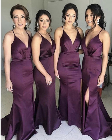 Image of Sexy V-Neck Long Satin Mermaid Split Bridesmaid Dresses Open Back