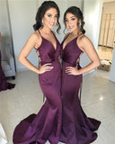 Sexy V-Neck Long Satin Mermaid Split Bridesmaid Dresses Open Back