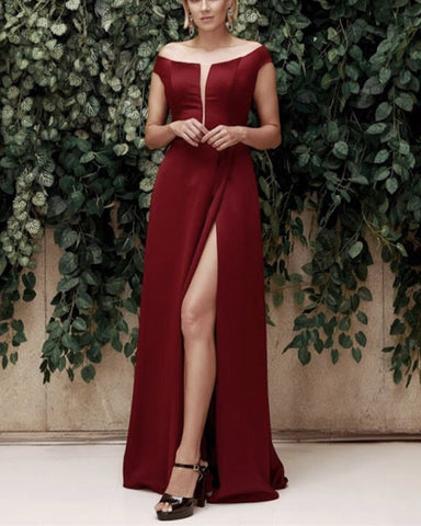 Image of burgundy-bridesmaid-dresses-off-shoulder-evening-gowns