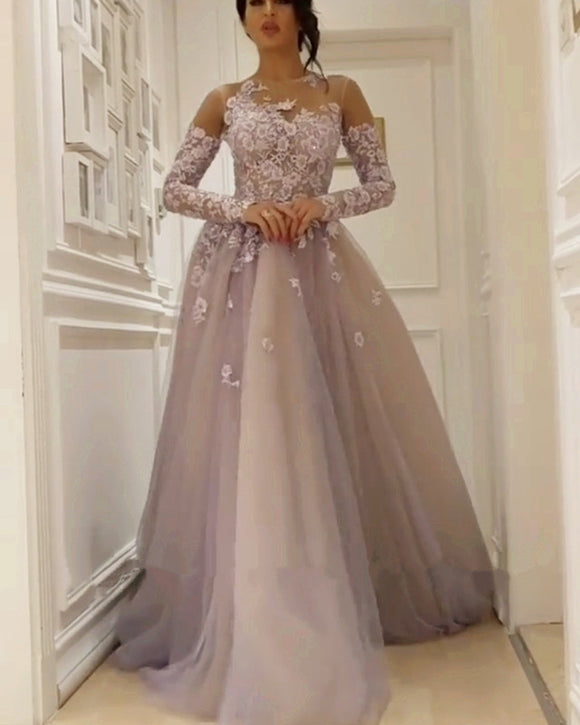 Illusion Neckline Long Sleeves Tulle Evening Dresses Lace Appliques bae79fc79