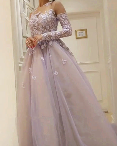 Image of Illusion Neckline Long Sleeves Tulle Evening Dresses Lace Appliques