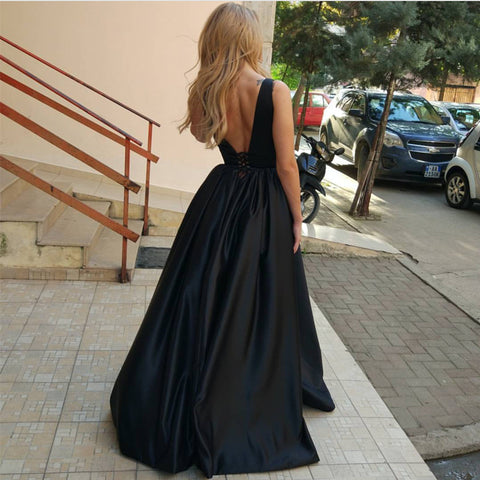 Image of Burgundy Satin V Neck Long Evening Gowns For Wedding Party