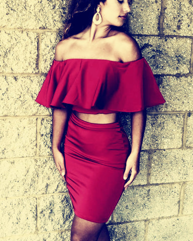 Image of Burgundy-Homecoming-Dresses-Two-Piece-Prom-Short-Dress-Ruffles-Sleeves
