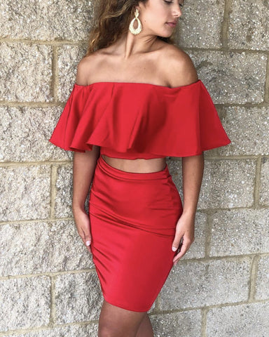 Image of Off The Shoulder Satin Two Piece Homecoming Dresses Ruffle Sleeves