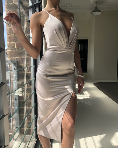 Image of Silver-Bridesmaid-Dresses-Knee-Length-Cocktail-Dress
