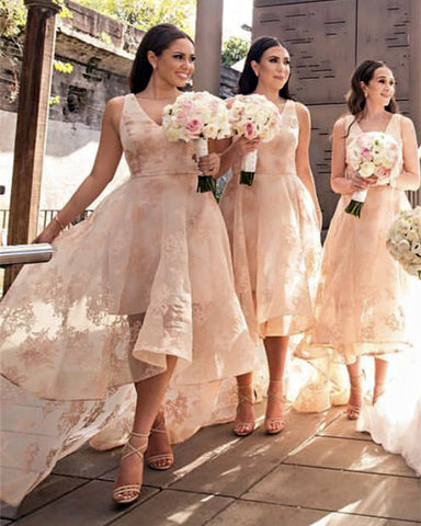 Image of Lace-Bridesmaid-Dresses-High-Low-Hem-Prom-Gowns