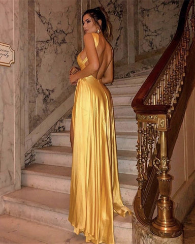 Image of Long Satin Halter Prom Dresses Backless Evening Gowns