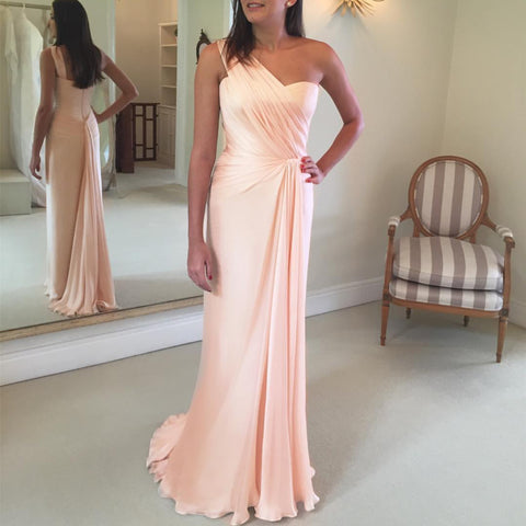 Image of Peach Chiffon One Shoulder Long Sheath Bridesmaid Dressees