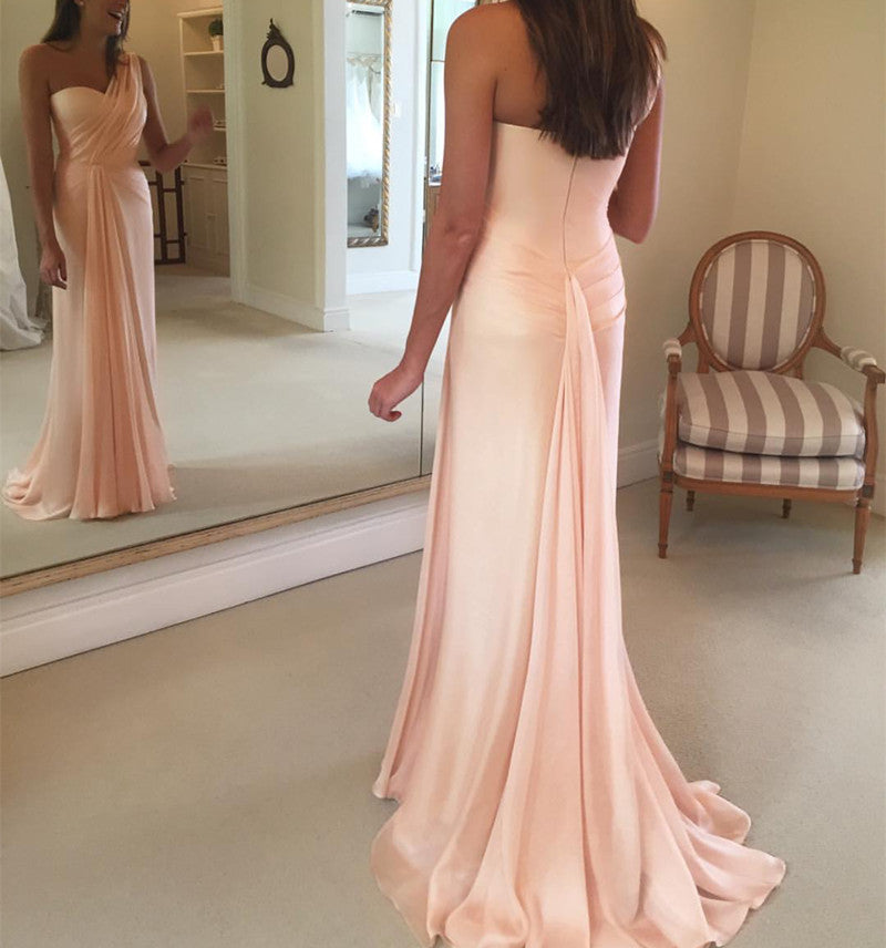 Peach Chiffon One Shoulder Long Sheath Bridesmaid Dressees