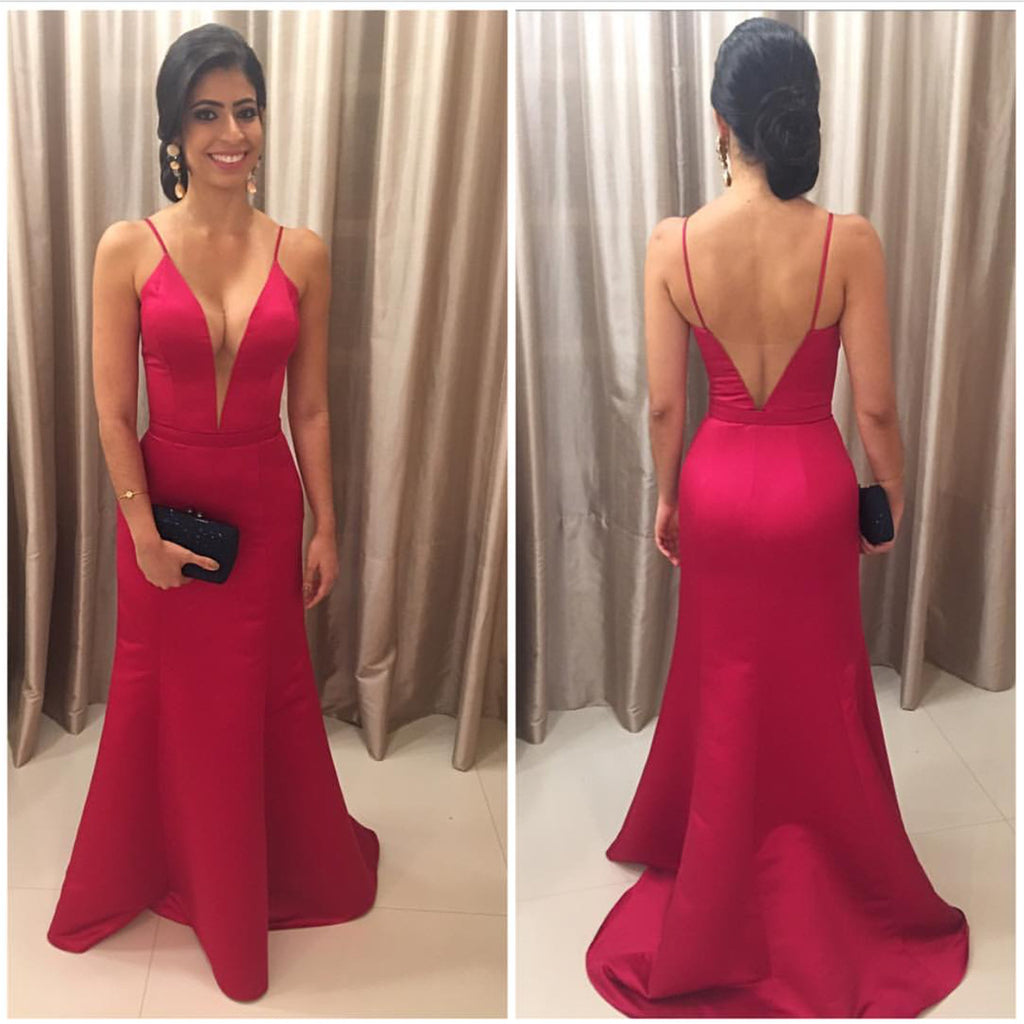 Fuchsia Satin V Neck  Mermaid Evening Dresses 2018 Backless Prom Gowns