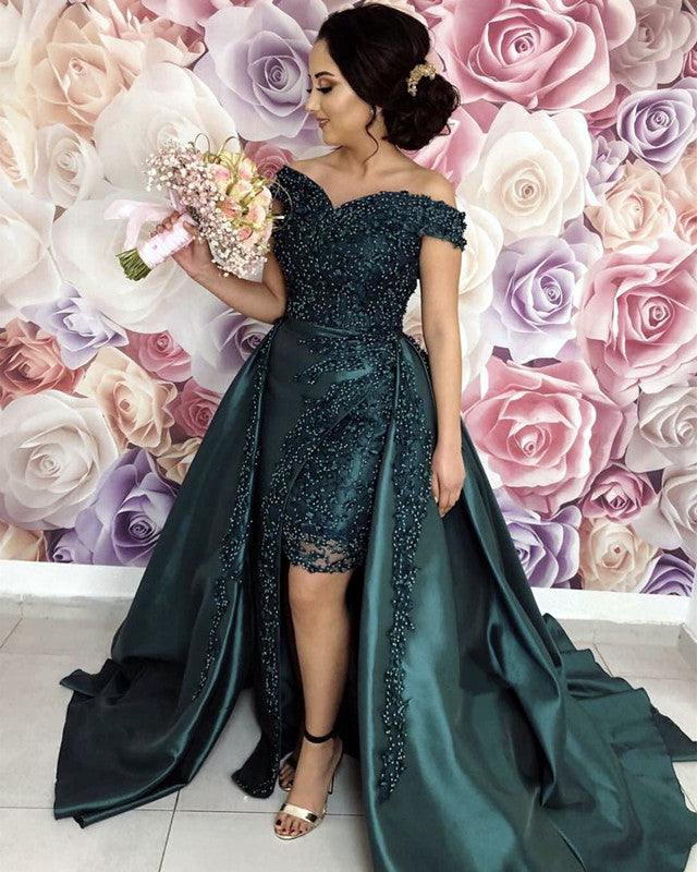 9d38841c278 Green-Prom-Dresses-Long-Satin-Off-Shoulder-Evening-. Double tap to zoom ·  Luxury Pearl Beaded ...