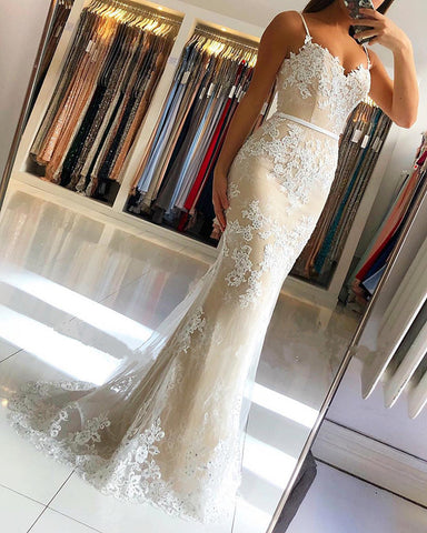 Image of Spaghetti Straps Lace Embroidery Sweetheart Tulle Mermaid Prom Dresses