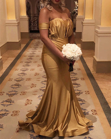 Image of Long Gold Satin Off Shoulder Mermaid Bridesmaid Dresses