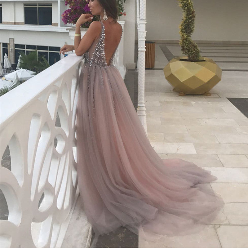 40480ca5 ... Peach And Grey Tulle V Neck Prom Long Dresses With Sequins Beaded ...