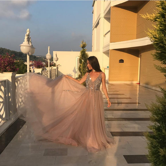 Peach And Grey Tulle V Neck Prom Long Dresses With Sequins Beaded