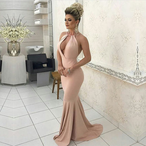 Image of Sexy Halter Long Jersey Nude Pink Prom Dresses Backless Evening Gowns