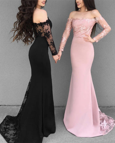 Image of Elegant-Prom-Gowns-2019-Mermaid-Off-The-Shoulder-Evening-Dresses-Long-Sleeves
