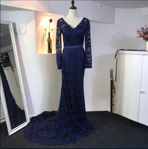 Navy Blue Lace Long Sleeves Evening Gowns Elegant Mermaid Prom Dresses