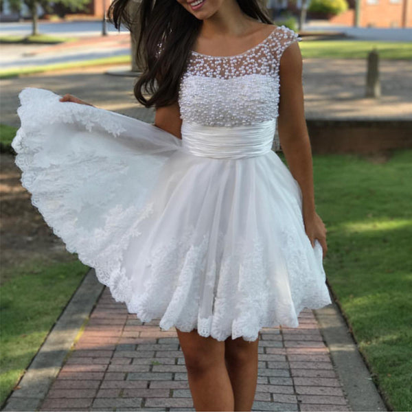 Cute A Line Cap Sleeves White Lace Homecoming Dresses Pearl Beaded