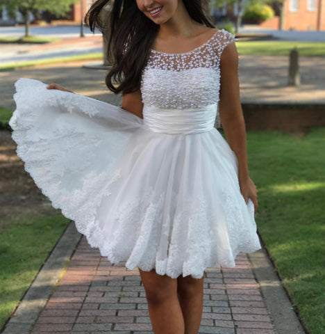 Image of Cute A Line Cap Sleeves White Lace Homecoming Dresses Pearl Beaded