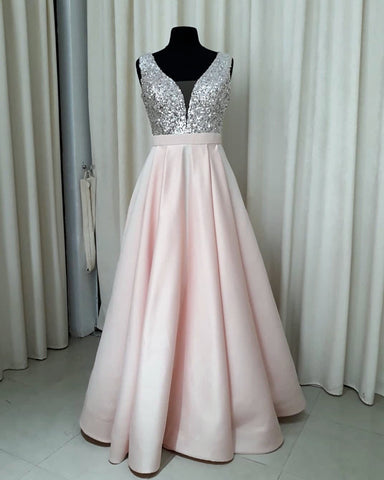 Image of Sequins V-neck Floor Length Satin Prom Dresses