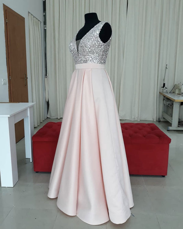 Sequins V-neck Floor Length Satin Prom Dresses