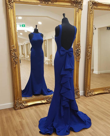 Image of Halter Satin Bow Back Mermaid Prom Dresses 2018 Formal Evening Gowns