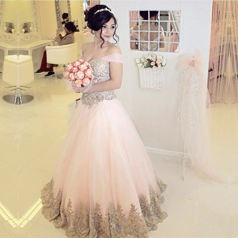 Off-the-shoulder Pink Tulle Quinceanera Dresses Gold Lace Appliques