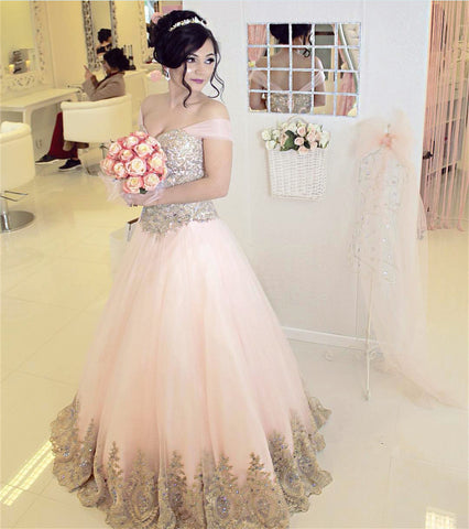 Image of Off-the-shoulder Pink Tulle Quinceanera Dresses Gold Lace Appliques
