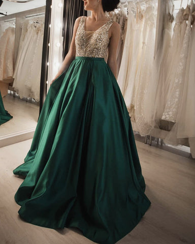 Image of Luxurious Sequin Beaded V Neck Long Satin Prom Dresses