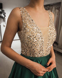Luxurious Sequin Beaded V Neck Long Satin Prom Dresses