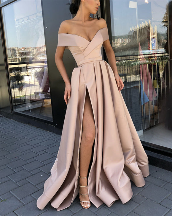 Long Satin V-neck Prom Dresses Leg Slit Evening Dress Off Shoulder