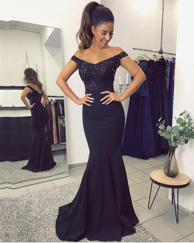 V Neck Long Navy Blue Mermaid Evening Dresses Lace Off The Shoulder